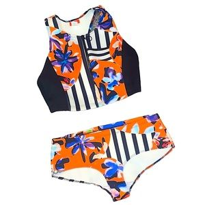 Clover Canyon Floral Two Piece Neoprene Swimsuit L